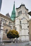 Belfry of St. Pierre Cathedral in Geneva, Switzerland Stock Photos