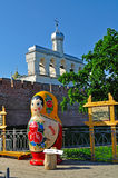 Belfry of St Sophia cathedral with big Russian doll matrioshka on the foreground in Veliky Novgorod, Russia Stock Photos