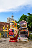 Belfry of St Sophia cathedral with big Russian doll matrioshka on the foreground in Veliky Novgorod, Russia Royalty Free Stock Photo