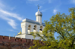 The belfry of St. Sophia Cathedral in Novgorod Stock Photo