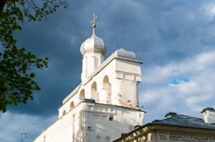 The belfry of St Sophia Cathedral in Veliky Novgorod, Russia - closeup architecture view. Veliky Novgorod, Russia. The belfry of St Sophia Cathedral at sunset in Stock Photos