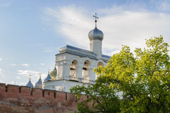 The belfry of St. Sophia Cathedral in Veliky Novgorod, Russia. The belfry of St. Sophia Orthodox Cathedral at summer sunset in Novgorod Veliky, Russia Royalty Free Stock Photo