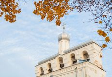 Belfry of St Sophia cathedral in Veliky Novgorod, Russia. Veliky Novgorod Russia landmark, closeup view stock photo