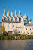 Belfry of the Tikhvin Uspensky monastery in the October evening. Tikhvin, Russia Stock Photo