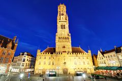 The Belfry Tower, aka Belfort, of Bruges, medieval bell tower in. The historical centre of Bruges, Belgium Stock Photo