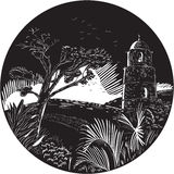 Belfry Tower On Hill Trees Circle Woodcut Royalty Free Stock Photography