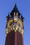 Belfry of the Town Hall at Place du Soldat Inconnu in Calais Stock Photo