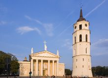 Belfry and Vilnius Cathedral Stock Photo