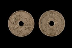 Belga anziano venticinque centesimi di moneta Fotografia Stock