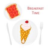 Belga, cialda cinese con crema, bacche, pane tostato con l'inceppamento di fragola illustrazione vettoriale