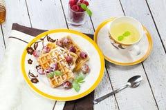 Belga tradicional de la galleta con las frambuesas frescas en un platillo aislado en delicioso delicado del fondo dos blancos y a foto de archivo