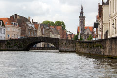 BelgareBruges vattenvägar i gammal stad Arkivbild