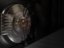 Belägga med metall stängde den säkra dörren, illustrationen 3D Royaltyfria Foton