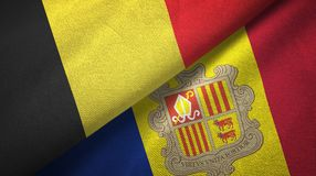 België en Andorra twee vlaggen textieldoek, stoffentextuur stock illustratie