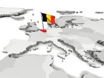 België op kaart van Europa Stock Foto's