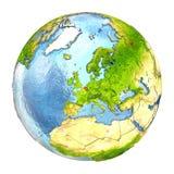België in rood op volledige Aarde Royalty-vrije Stock Afbeelding