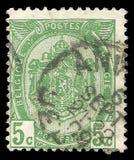 België - zegel 1907: De standaarduitgave, toont Wapenschild stock fotografie