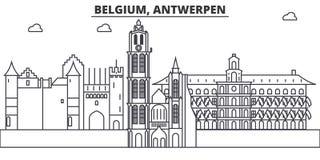 Belgia, Antwerpen architektury linii linii horyzontu ilustracja Liniowy wektorowy pejzaż miejski z sławnymi punktami zwrotnymi, m Fotografia Stock