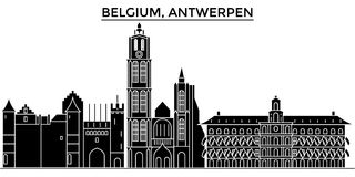Belgia, Antwerpen architektury miasto wektorowa linia horyzontu, podróż pejzaż miejski z punktami zwrotnymi, budynki, odosobneni  Fotografia Royalty Free