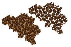 Belgia - mapa kawowa fasola Fotografia Stock