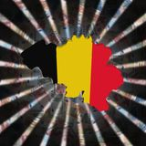 Belgia mapy flaga na waluta wybuchu ilustraci zdjęcie stock