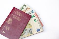 Belgia podróżny paszport i euro ` s Obrazy Stock