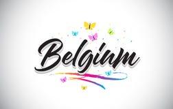 Belgia słowa Ręcznie pisany Wektorowy tekst z motylami i Kolorowym Swoosh ilustracja wektor