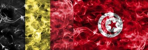 Belgia vs Tunezja dymu flaga, grupowy G, futbolowy puchar świata 2018, Zdjęcie Stock