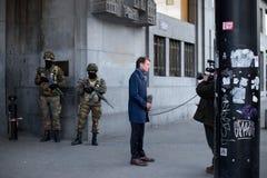 Belgia wojsko zabezpiecza Środkową stację - Główna stacja kolejowa Bruksela Zdjęcie Stock