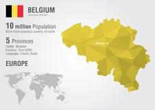 Belgia z mapy woth piksla diamentu tekstura Zdjęcia Royalty Free