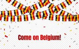 Belgia zaznacza girlandę na przejrzystym tle z confetti Wiesza chorągiewki dla dnia niepodległości świętowania szablonu sztandaru ilustracja wektor
