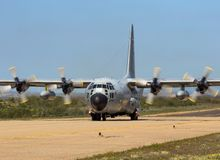 Belgian Air Force C-130 Hercules cargo plane. ZARAGOZA, SPAIN - MAY 20,2016: Belgian Air Force C-130H Hercules transport plane taxiing after landing on Zaragoza royalty free stock photography