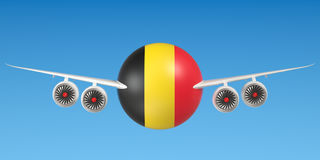Belgian airlines and flying& x27;s concept. 3D rendering Royalty Free Stock Images
