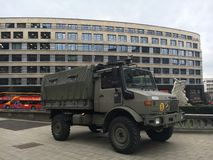 Belgian army truck in Brussels. Belgian army truck in the street in Brussels as the terrorist threat level continues to be at second highest level, i.e. 3 Stock Images