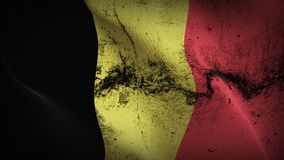 Belgium grunge dirty flag waving on wind. Belgian background fullscreen grease flag blowing on wind. Realistic filth fabric texture on windy day Stock Photo
