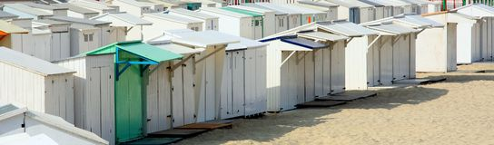 Belgian Beach Huts. Beach huts at seaside resort in Belgium Stock Photo