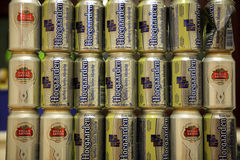 Belgian beer Hoegaarden and Stella Artois Royalty Free Stock Photos