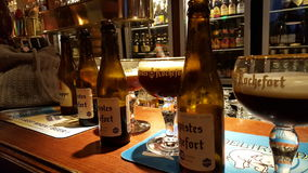 Belgian beer. Trappistes,beer from monastery in Brugge Royalty Free Stock Images