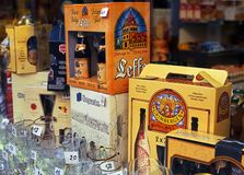 Belgian Beers in shop window. Royalty Free Stock Image