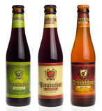 Belgian beers Troubadour Westkust, Obscura and Magma isolated on Royalty Free Stock Images