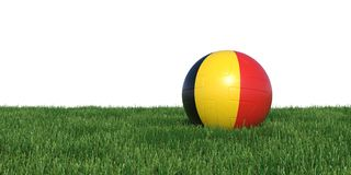 Belgian Belgium flag soccer ball lying in grass world cup 2018. Isolated on white background. 3D Rendering, Illustration Royalty Free Stock Photo