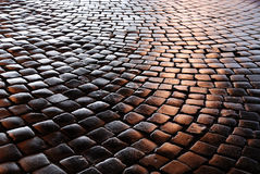 Belgian block pavement of the night city Stock Images