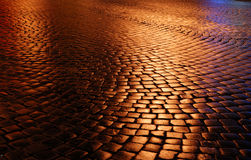 Belgian block pavement of the night city Royalty Free Stock Photography