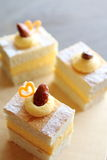 Belgian cake. Belgian traditional cake, miserable, with cream and almond on top Stock Photo