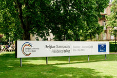 Belgian Chairmanship banner of the Council of Europe Royalty Free Stock Photos