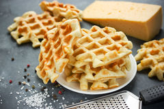 Belgian cheese waffle. Thick waffles with cheese Stock Photo