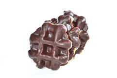 Belgian chocolate biscuits. On white background Royalty Free Stock Images