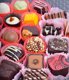 Belgian chocolate handmade chocolate candies in different shapes Stock Images