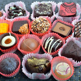 Belgian chocolate handmade chocolate candies in different shapes Stock Photography