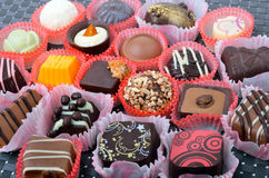 Belgian chocolate handmade chocolate candies in different shapes Royalty Free Stock Photos